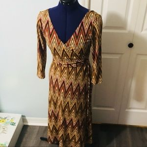 Maggy London Wrap Dress in Beautiful Fall Colors